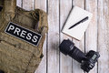 Body Armor For Journalist, Notebook And Camera Stock Photo - 80810050