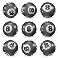 Set Of Billiard Balls Eights From Different Angles Stock Images - 80812224
