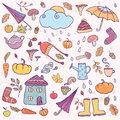 Set Of Hand Drawn Autumn Icons. Royalty Free Stock Photography - 80813947