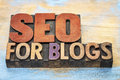 SEO For Blogs In Wood Type Royalty Free Stock Images - 80817949