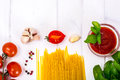 Basil, Red Cherry Tomato With Pasta On White Background Stock Images - 80822824