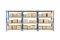 Rendering Three Metal Racks Put Together With Beige Cardboard Boxes Of Different Size Stored There, Isolated On The Royalty Free Stock Images - 80825809