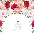 Semicircle Garland Frame Arranged From Burgundy Red And White Peony  Royalty Free Stock Images - 80826309