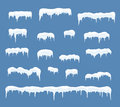 Ice Caps Set. Snowdrifts, Icicles, Elements Winter Decor. Stock Images - 80833994