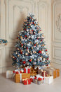 Beautiful Holdiay Decorated Room With Christmas Tree And Presents Under It. New Year Decorations Royalty Free Stock Image - 80835126