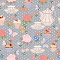 Vector Seamless Pattern With Tea, Roses, Daisies, Butterflies. Royalty Free Stock Images - 80835959