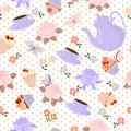 Vector Seamless Pattern With Tea, Roses, Daisies, Butterflies. Stock Photo - 80836120