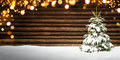 Christmas Frame With Fir Tree, Wood, Snow And Lights Stock Photo - 80851770