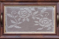 Tray With Crochet Lace In Wooden Frame Stock Photo - 80863730