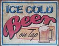 Antique Ice Cold Beer On Tap Tin Sign Royalty Free Stock Images - 80868149