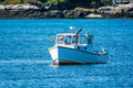 Lobster Fishing Boat In Autumn In Coastal Maine, New England Royalty Free Stock Photography - 80870187