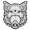 Coloring Antistress Page. Wild Boar Is Drawn By Hand With Ink. Zendoodle. Royalty Free Stock Photos - 80883348