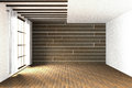 3D Rendering : Illustration Of Large Spacious Room.natural Sun Light From Glass Windows.Empty Room Interior In Wooden Wall Stock Photos - 80883583
