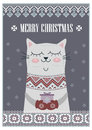Vector Template Card Merry Christmas In Traditional Style With Cute Cat  Gift. New Years Winter Background  Holiday Stock Photos - 80884703