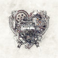 Sketch Of A Mechanical Heart, 3D Illustration Royalty Free Stock Photo - 80899695