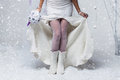 Bride In Wool Boots Stock Photo - 80899780