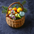 Decorated Basket For Christmas Royalty Free Stock Image - 80903476