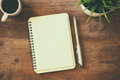 Open Notebook With Blank Pages Next To Cup Of Coffee Stock Photo - 80907440