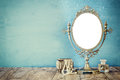 Old Vintage Oval Mirror And Woman Toilet Fashion Objects Stock Image - 80908441