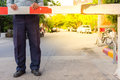 Security Guard With Barrier Gate Stock Image - 80910871