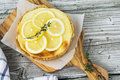 Fresh Homemade Cream Cheese Sweet Cake For Breakfast With Slices Of Lemon And Thyme On Olive Board  A Simple Light Stock Photos - 80912543