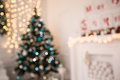 New Year Room With Decorated Christmas Tree Royalty Free Stock Photo - 80917845