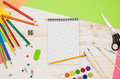 Office School Table Or Desk Seen From Above. Top View Stock Image - 80919051
