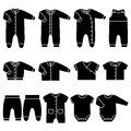 Vector Black Icons Of Baby Clothes. Royalty Free Stock Image - 80926696
