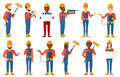 Vector Set Of Constructors And Builders Characters Royalty Free Stock Photography - 80930067