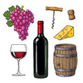 Wine Set Of Bottle, Glass, Barrel, Grapes, Cheese, Cork, Corkscrew Stock Photography - 80958252