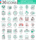 Vector Genetics And Biochemistry Flat Line Outline Icons For Apps And Web Design. Genetics Chemical High Technology Stock Images - 80995164