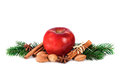 Red Apple With Christmas Spices Decoration Royalty Free Stock Photo - 80998625