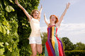 Two Happy Girls Jumping Stock Images - 8105444