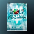 New Year Celebration Party Illustration With 2017 Holiday Typography Designs With Disco Ball On Shiny Blue Background. Stock Image - 81004771