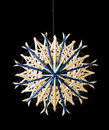 Blue Straw Star Christmas Decoration Over Black Stock Photos - 81016553