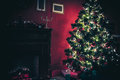 New Year Room With Decorated Christmas Tree Royalty Free Stock Photography - 81017217
