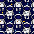 Colorful Seamless Cartoon Space Pattern With Astronauts And Stars Stock Photos - 81023273