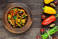 Vegetable Stew Salad: Bell Pepper, Eggplant, Asparagus Beans, Garlic, Carrot, Leek. Bright Spicy Aromatic Dishes. Stock Photography - 81026072