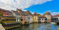 Strasbourg, Water Canal And Nice House In Petite France Area. Stock Image - 81028541