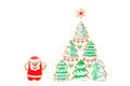Christmas Card With Gingerbreads, Cookies Santa, Trees, Snowflake On White Stock Images - 81028724