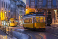 Tram Car On Street At Evening In Lisbon, Portugal Royalty Free Stock Image - 81035596