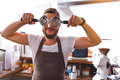 Guy Fooling Around In A Cafe Stock Photography - 81038792
