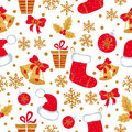 Christmas And New Year Seamless Pattern With Doodle Bells, Balls, Christmas Stockings Stock Images - 81051424