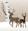 Snow Winter Landscape With Two Deers And Birch Tree Royalty Free Stock Image - 81054016
