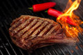Food Meat - Beef Steak On Bbq Barbecue Grill With Flame Stock Photos - 81059203