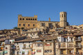 Historical Castle And Church On Top Of The Hill In Valderrobres Stock Image - 81070931