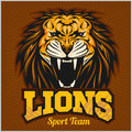 Lions - Sport Team Logo Template. Lion Head On The Shield. T-shirt Graphic, Badge, Emblem, Sticker. Royalty Free Stock Photo - 81074375