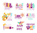 Kids Creative Class Template Promotional Logo Set With Symbols Of Art And Creativity, Painting And Origami Royalty Free Stock Photo - 81075475