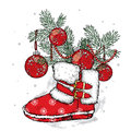 Branches Of A Christmas Tree In New Year`s Boots. New Year`s And Christmas. Winter. Stock Image - 81077131