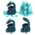 Frozen In Ice And Thawed Snake, Four Vector Images Stock Photography - 81078572